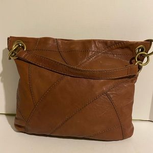 Fossil brown distressed leather hobo handbag